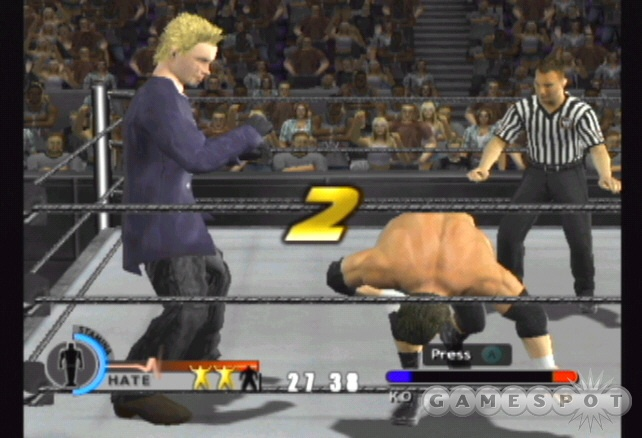 Defeat Triple H in a last man standing match by scoring a knockout.