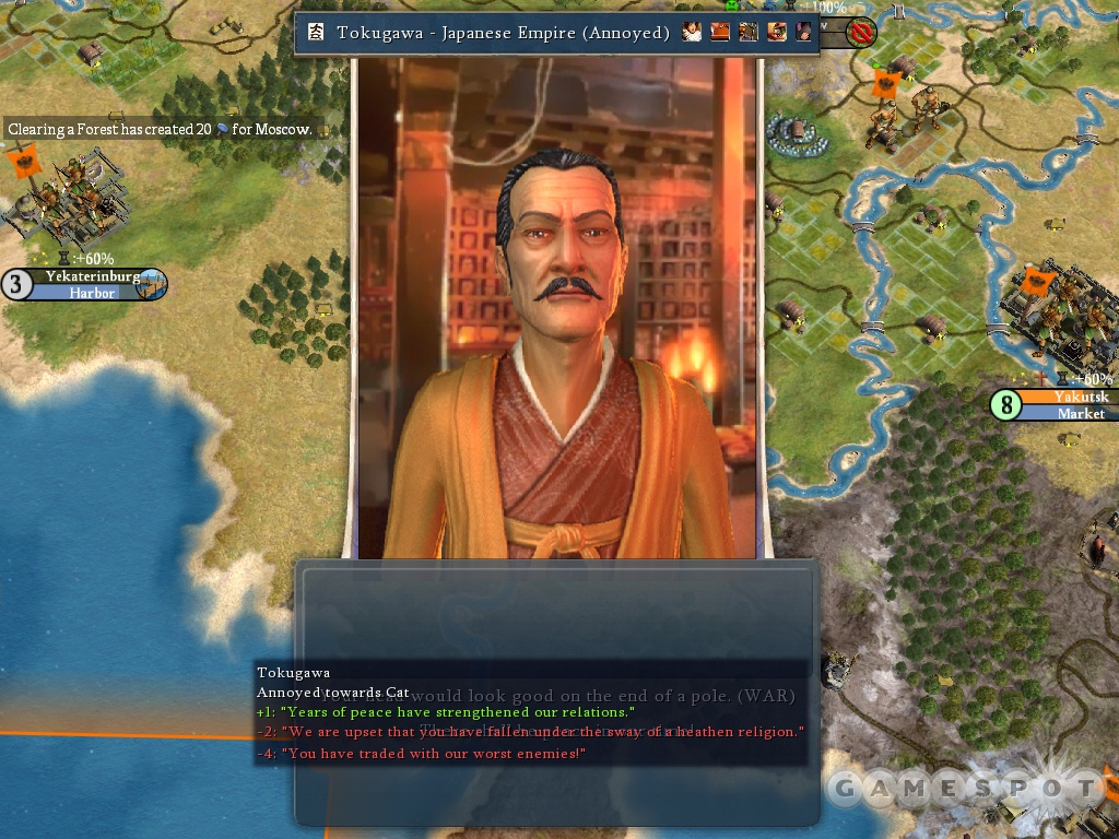 Tokugawa is the Japanese leader. You'll always know your standing with other leaders in Civ IV.