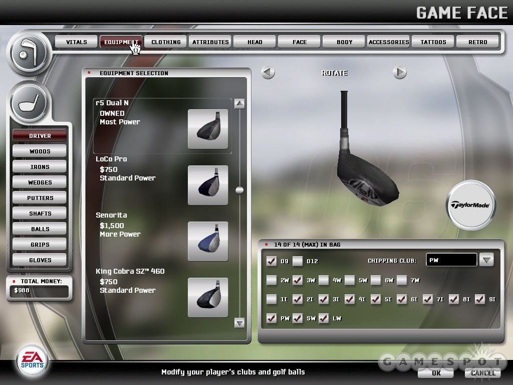 Just as in real golf, there's plenty of equipment to buy in Tiger 06. Unlike in real golf, however, these clubs will probably help you improve your game.