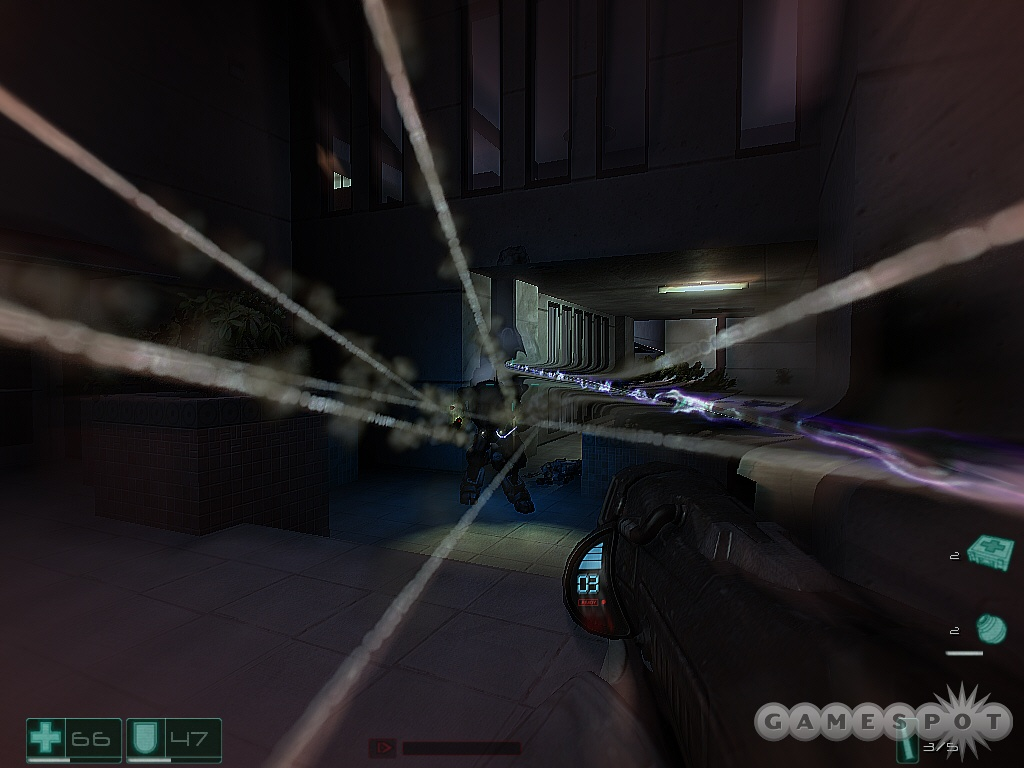 Slowing down time creates a cool visual effect, as you can see the trace of every bullet in the air.