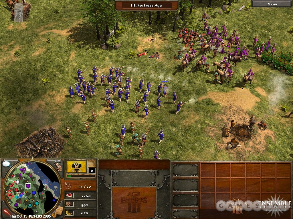 You'll need a lot more than three musketeers to win a typical skirmish in the New World in Age of Empires III.