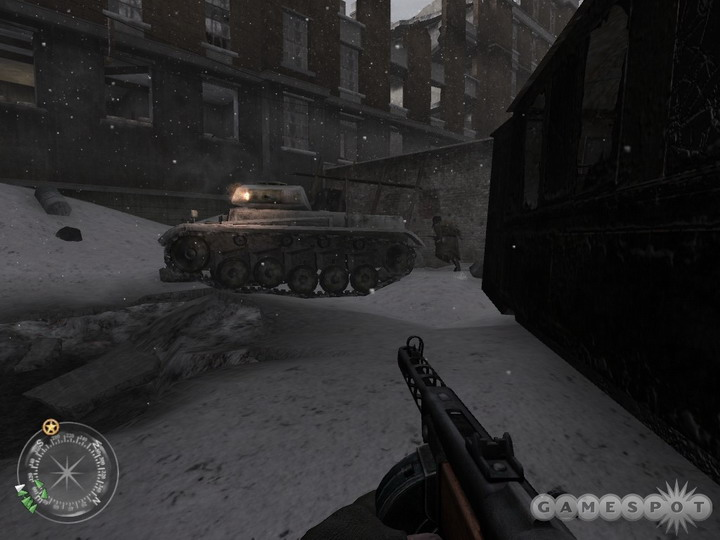 A smoke grenade should help you get past this tank here.
