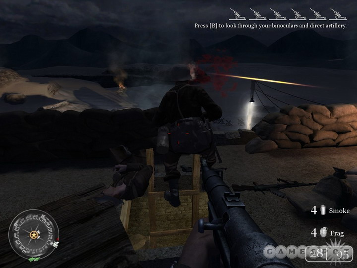 Watch out for enemy troops that'll attempt to get up to your position and ambush you.