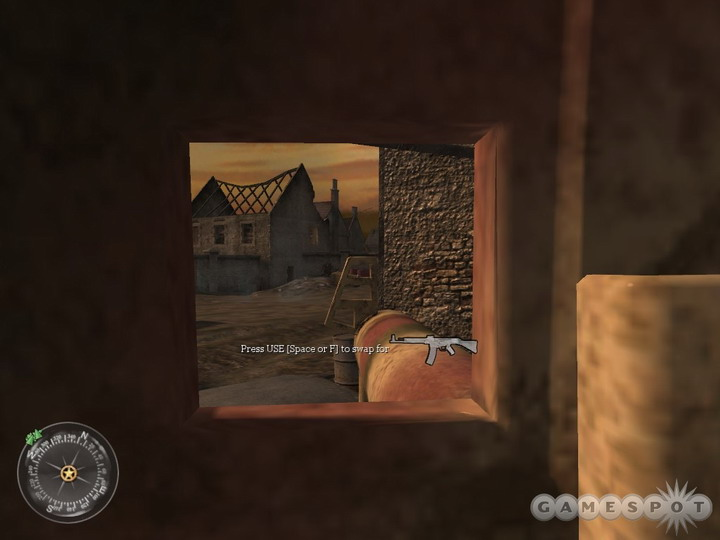 Be ready to hit these barrels with your Panzerschrek as soon as you round the corner.