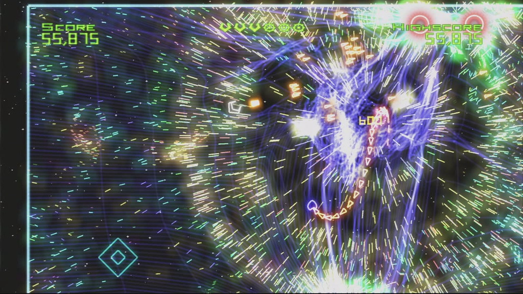 Geometry Wars is about as frantic as gameplay gets.