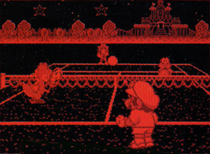 Who could forget Mario's Tennis for the Virtual Boy? Just looking at this gives us a headache. Fetch us our goofy 3D headset, stat!