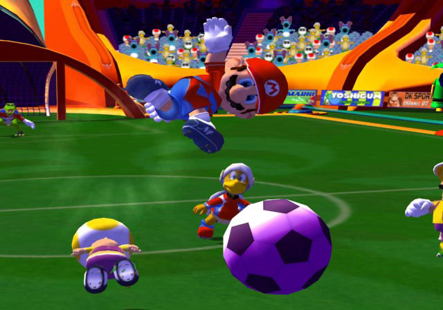 Apes, mushrooms, and the beautiful game. Super Mario Strikers is yet another departure for Mario and his crew.
