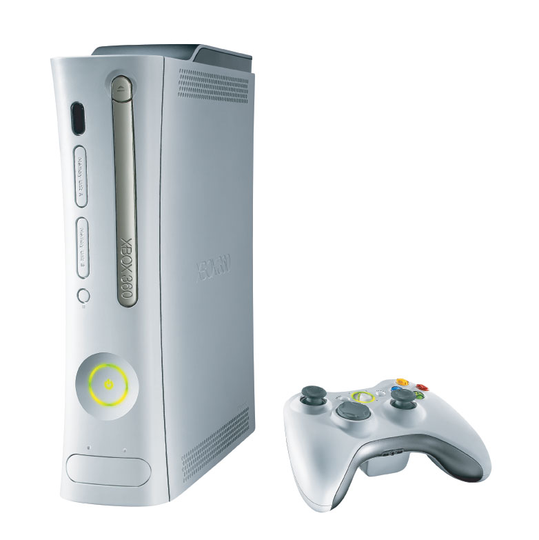 The Xbox 360 and controller.