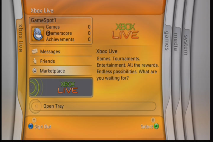 Use the Xbox Live blade to check up on your friends, messages, and online reputation.