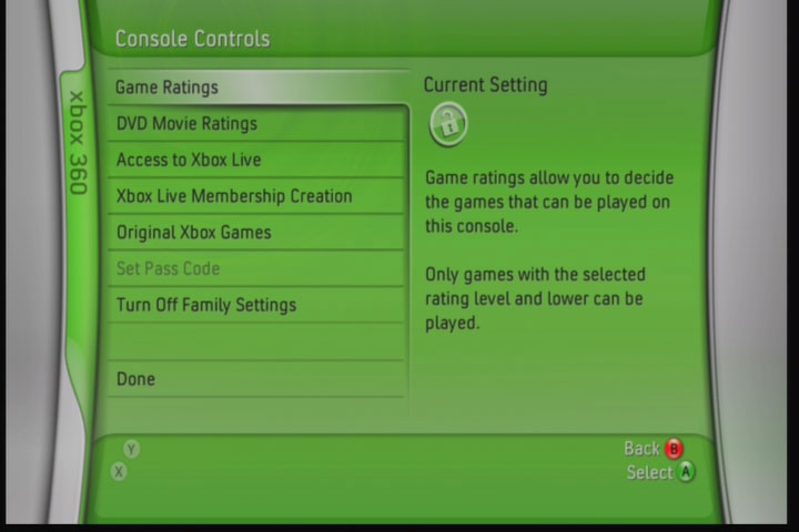 You can set permissions on game content, movie content, and even Xbox Live access on the Xbox 360.