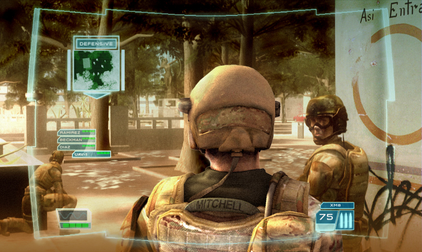 The interface overlay in Ghost Recon 3 includes windows that can offer useful tools, like a satellite map.