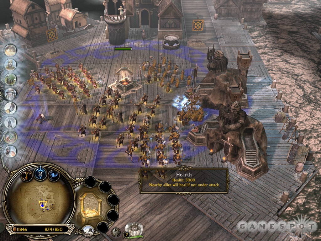 The western side of the docks is essentially your base of operations. Use the Hearth to heal troops between battles.