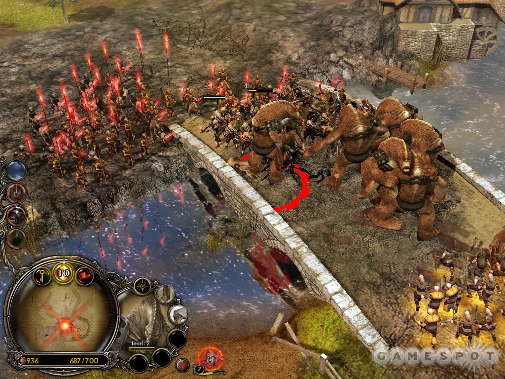 Isengard troops attack from the bridge northwest of your base. Defend the bridge!