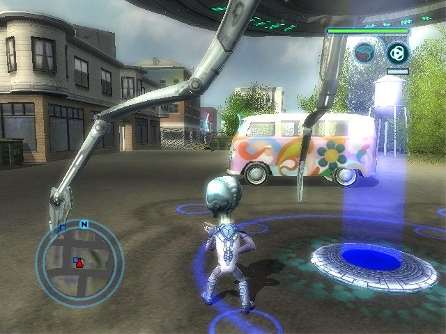 Ship combat is downplayed a bit in Destroy All Humans! 2, but there are more than a few chances to fly around like a lunatic, exploding buildings and tanks.
