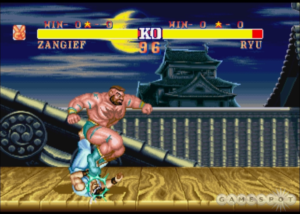 Zangief grinds Ryu's face into pulp in Ryu's classic Japan stage.