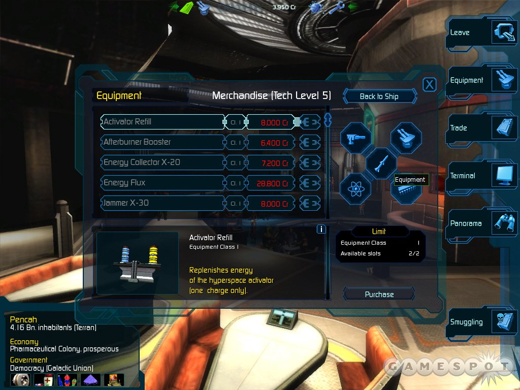 Upgrade and repair your ship, get new missions, and trade while docked at a space station.