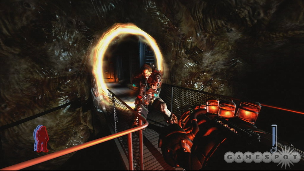 The game's weapons are weird looking, but they act like standard first-person shooter firepower.