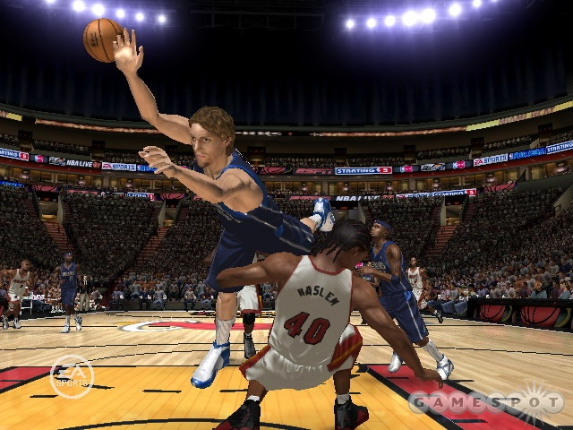 Nowitzki shows Haslem what's what. Too bad he couldn't have played like that in the real thing.