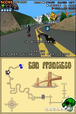 Tony Hawk's Downhill Jam tries to fit the Tony Hawk trick system into a racing game.