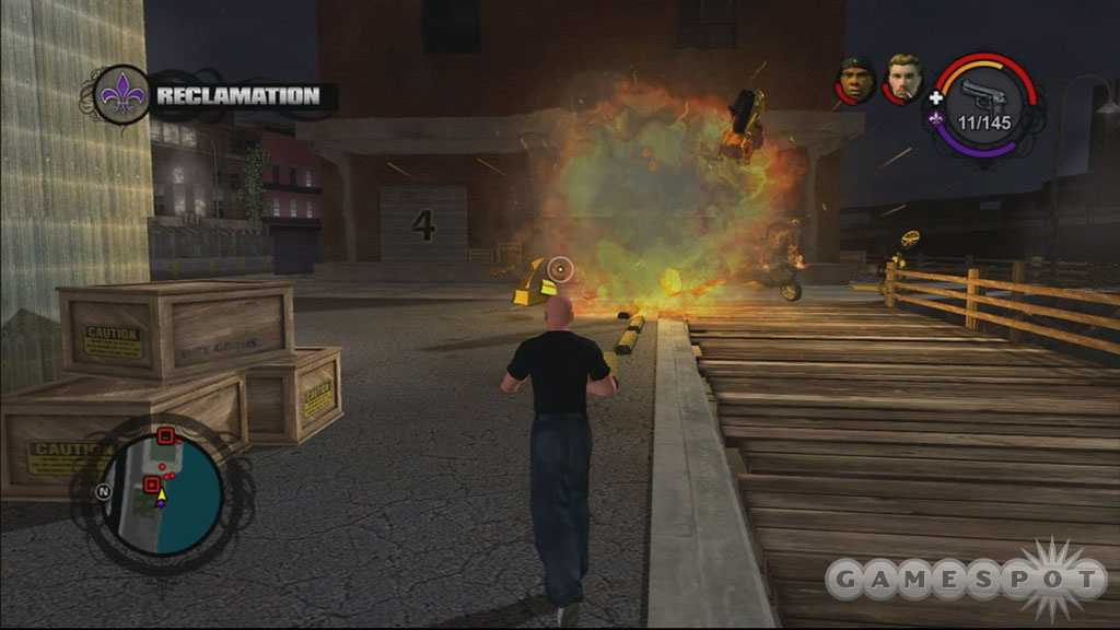 A lot of stuff blows up real good during the course of Saints Row. Each explosion is its own reward.