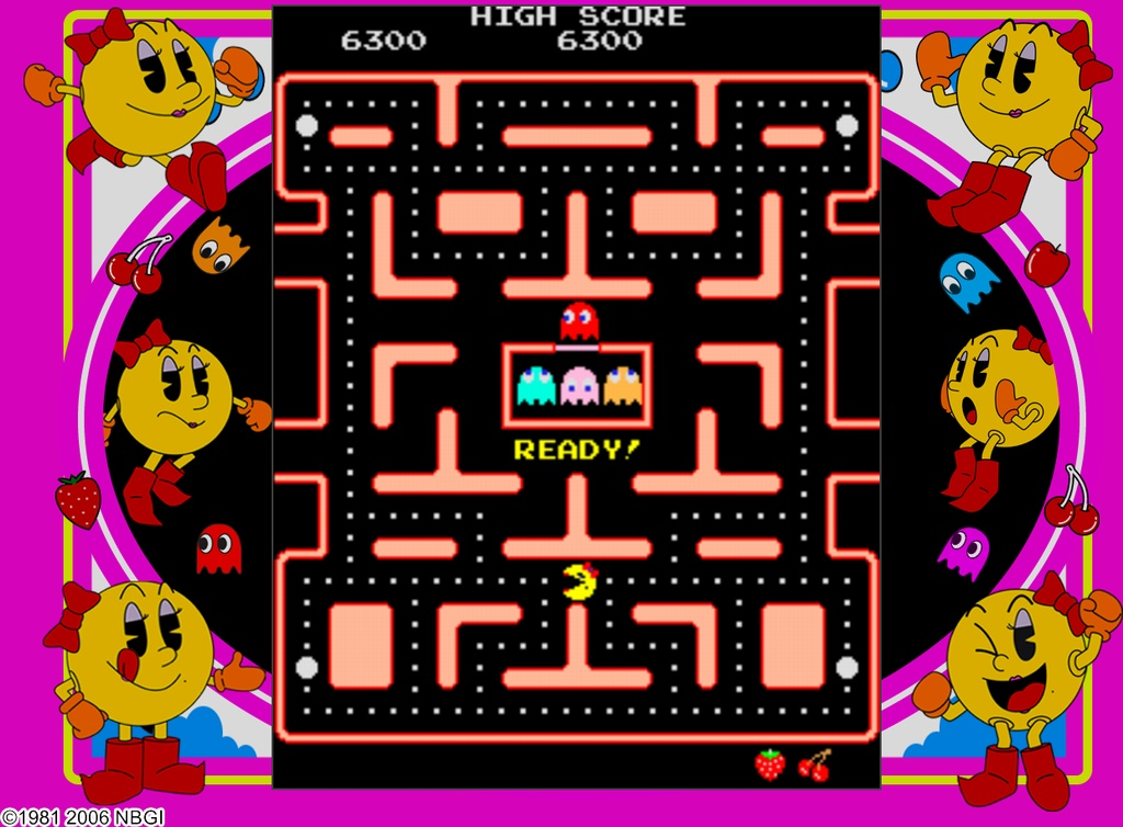 Ms. Pac-Man proves that women can eat ghosts just as well as men can.