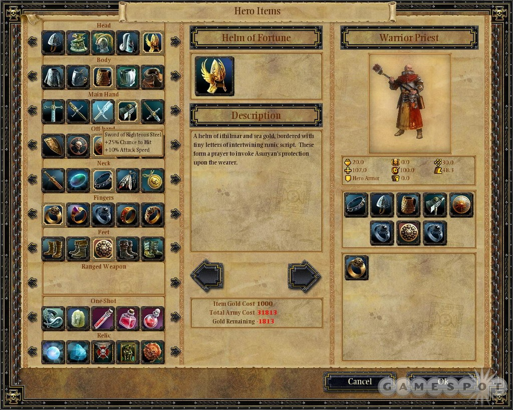 Outfit your heroes from a large variety of weapons, armor, and equipment.