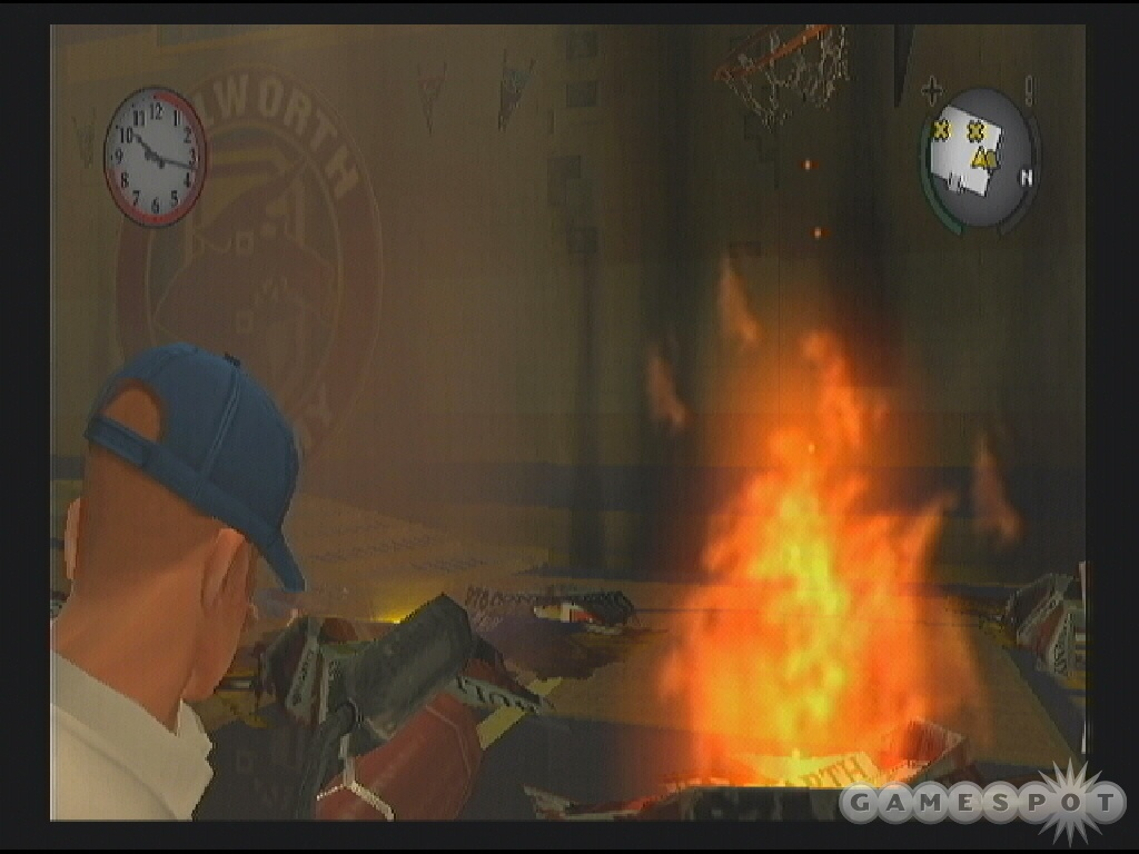 Enter aim mode using the extinguisher and douse the fires burning down the school gym.