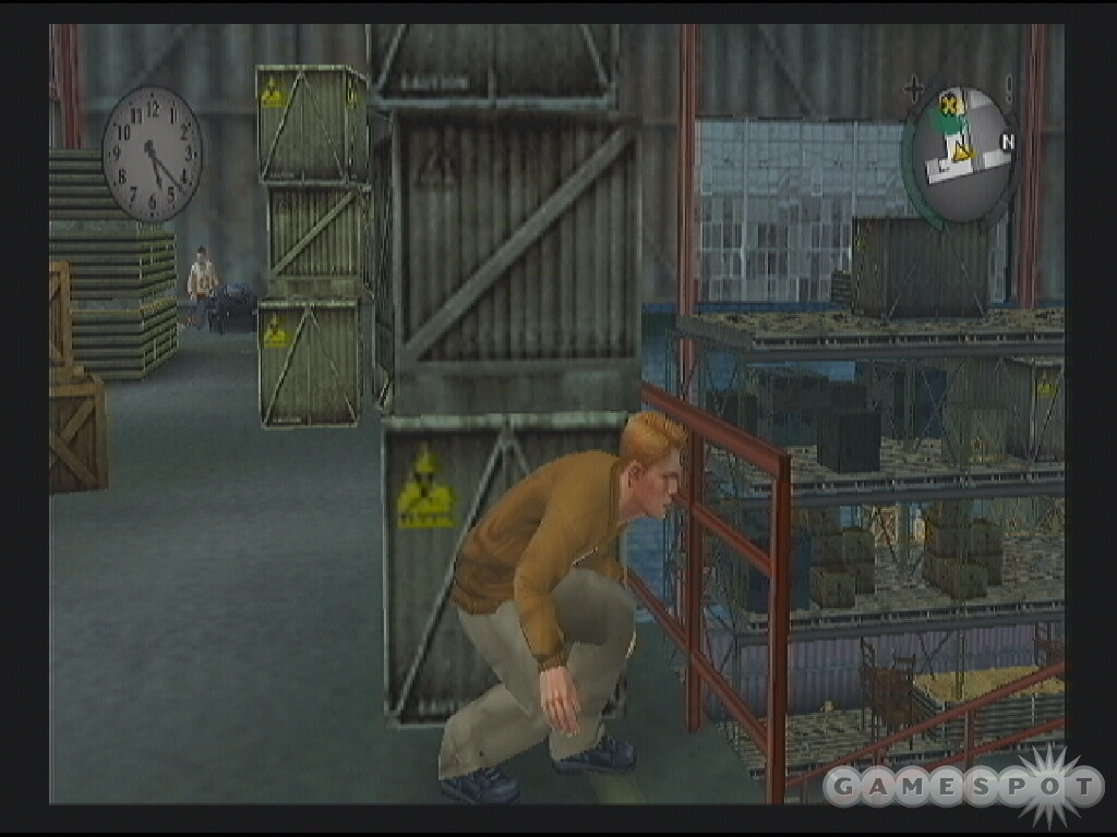 Don't get spotted by the townies. You need to get a picture of what's going on in this warehouse.