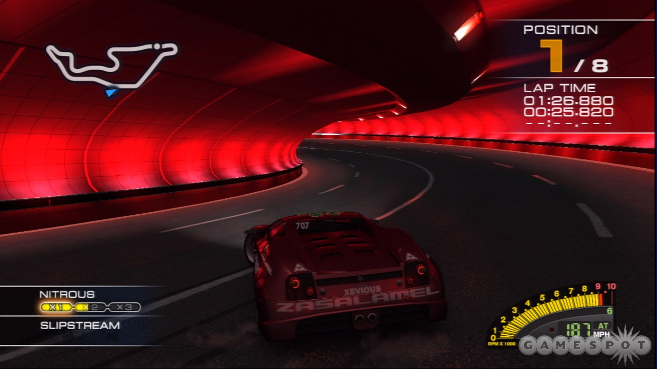 The online racing in RR7 lets up to 14 players race at once.