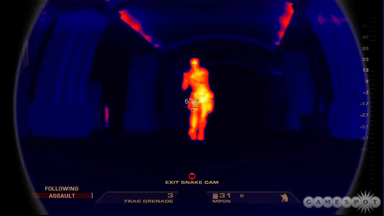You can use thermal or night vision to cut through smoke or darkness, and it's helpful for spotting terrorists before you enter a room.