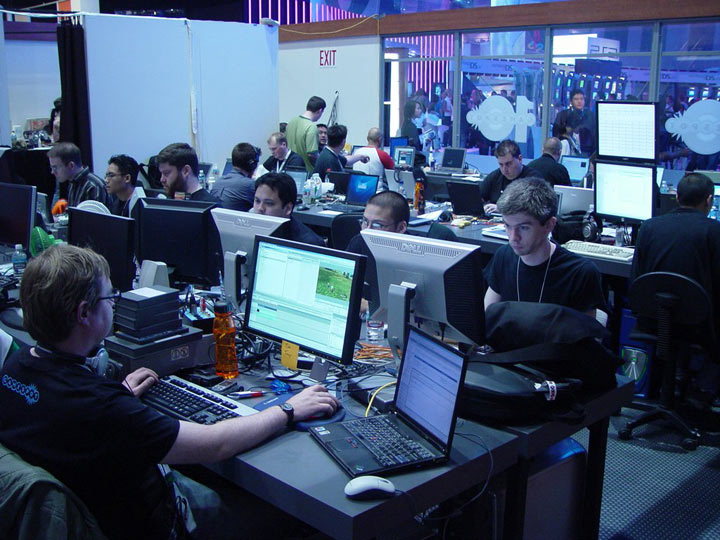 The only event that warrants stacking PC monitors on top of each other.