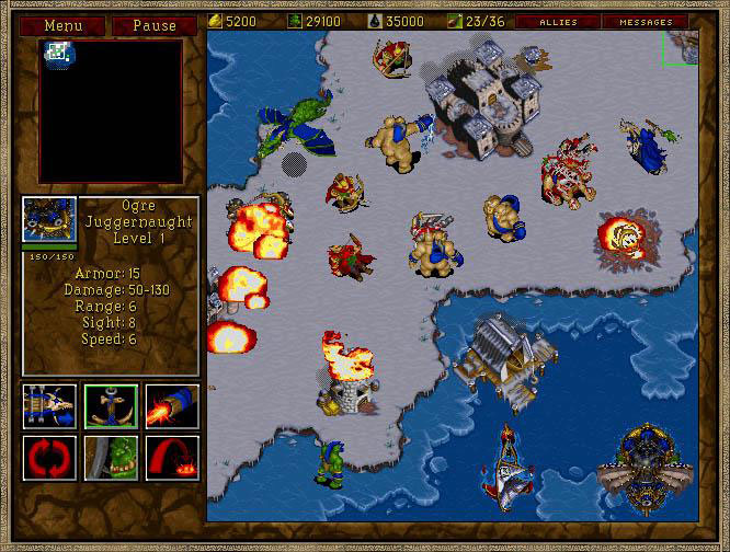 Land, sea, and air units were available in the game.