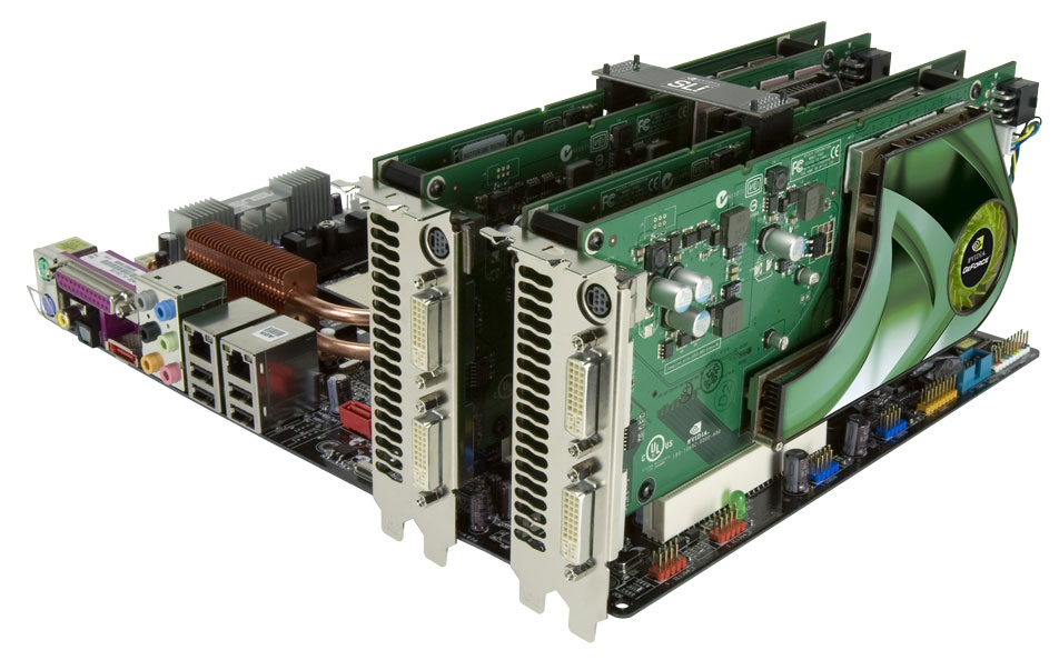 You can get four GPUs in a single system with two dual-GPU GeForce 7950 GX2 cards.