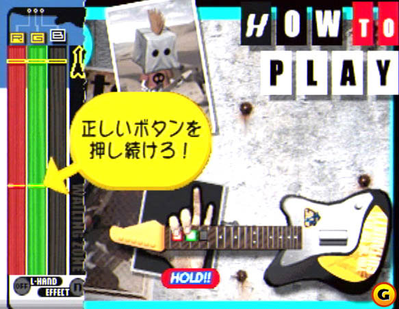 The game may look visually similar to Konami's other games, but the guitar controller makes it a fairly different experience.