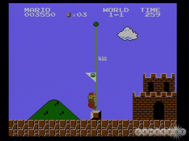 Little-Known and Entirely Untrue Fact: If you jump over the flagpole, you get a million fireworks and Mario's hat changes into a crown.