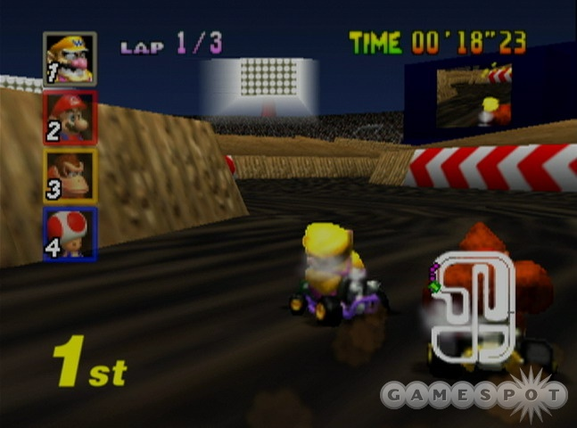 Future iterations of Mario Kart vastly improved the powersliding mechanic--here it's kind of a slippery mess.