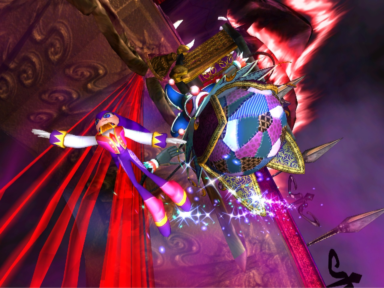 In this particular boss stage, you'll have to bounce this jester-looking guy through a maze.