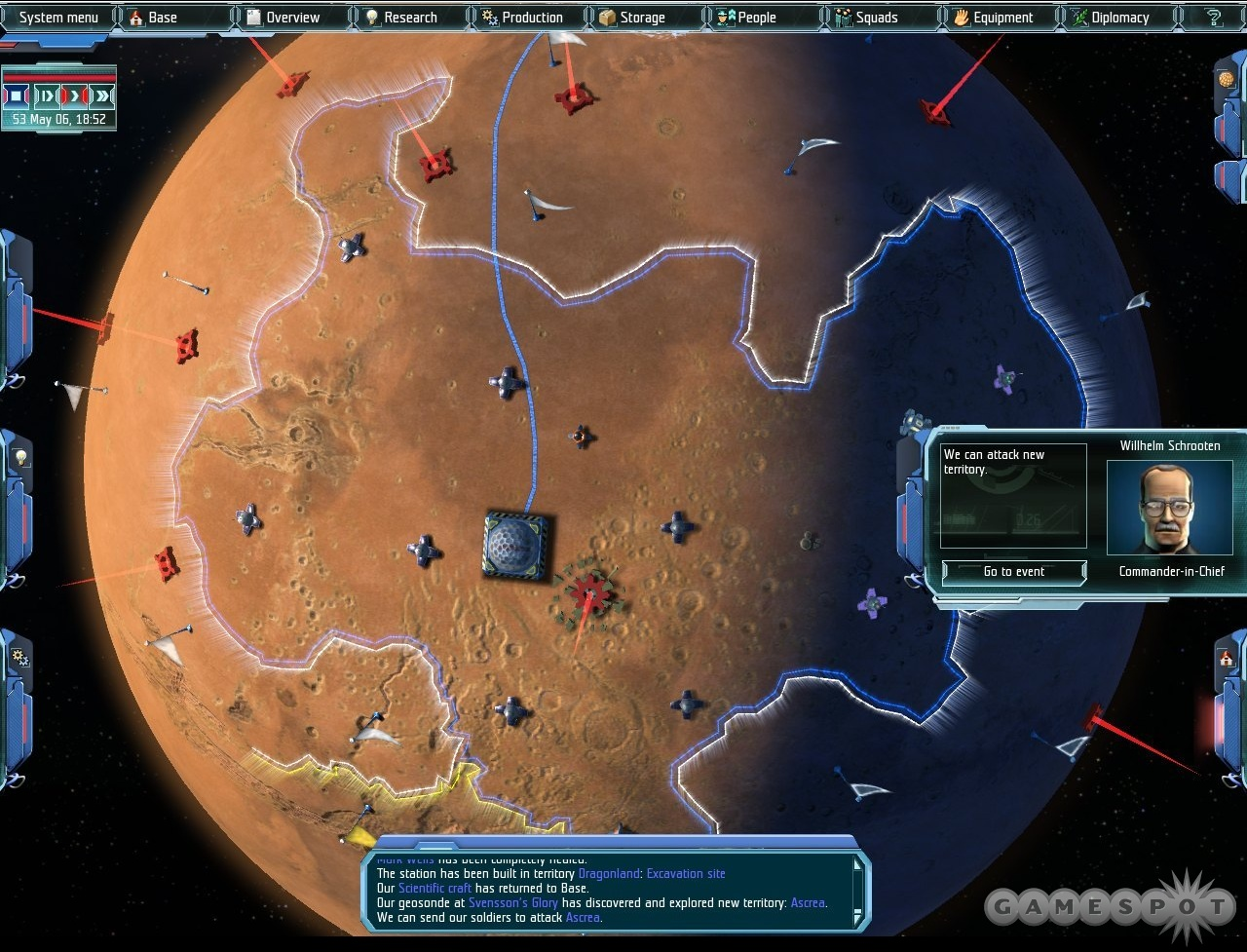 Look familiar? As with the standard X-COM formula, the default view here is a globe that highlights your bases and the alien hot spots.