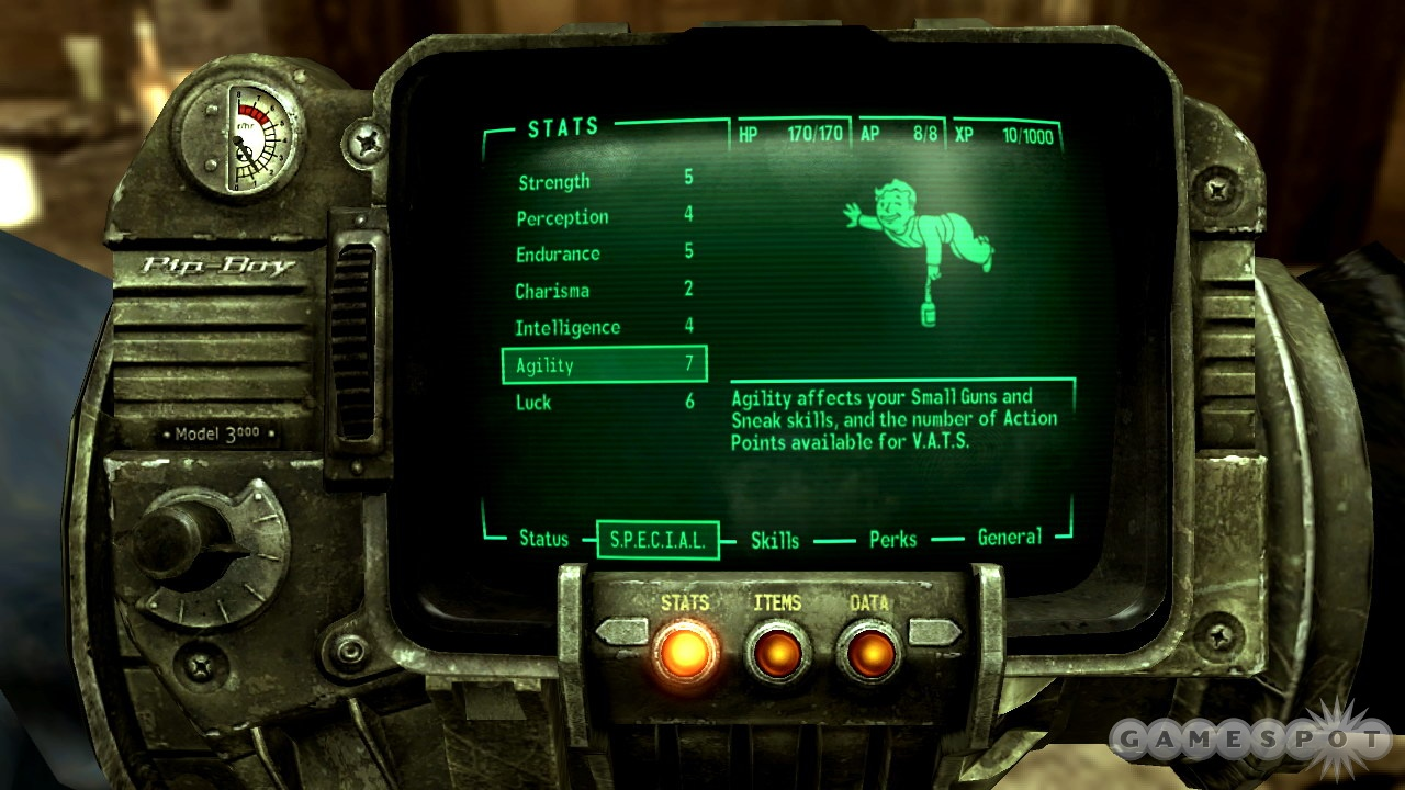 The Pip Boy on your wrist is your guide to the game. It also doubles as a radio, as there are several radio stations in the game.
