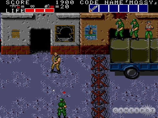 In Bloody Wolf, you shoot the bad guys and rescue the hostages socked away in shacks and caves.