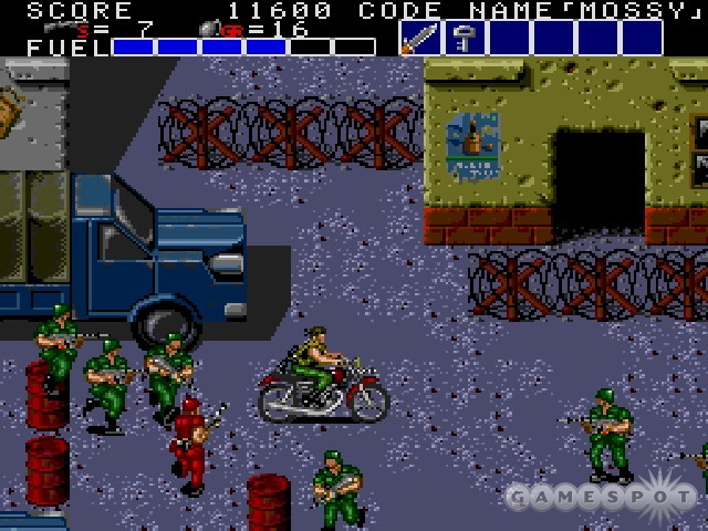 The motorcycle has a front mounted gun, but it's more fun to just plow through enemies.