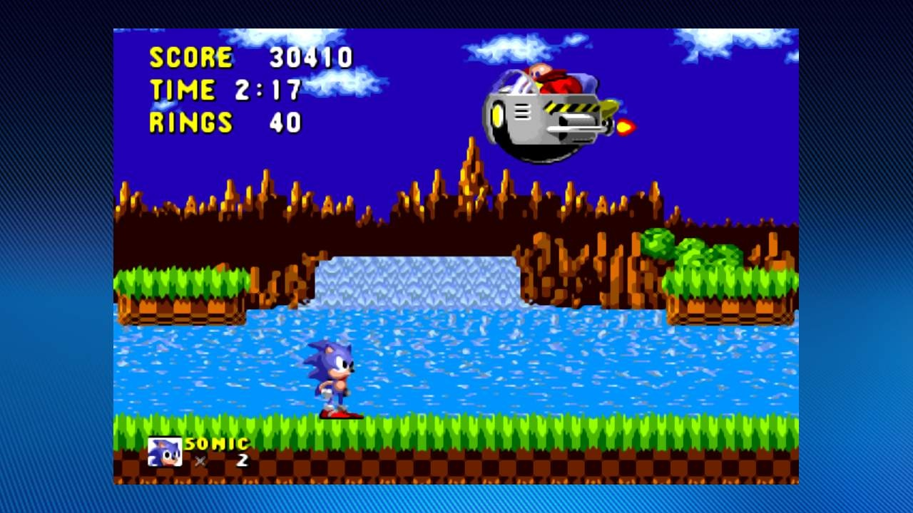 The first in a seemingly endless series of confrontations between Sonic and the bulbous Dr. Robotnik.