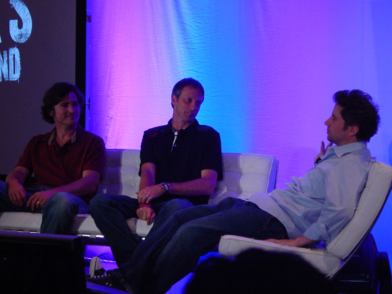 Tony Hawk (center) chilling with Kennedy and a Neversoft developer.
