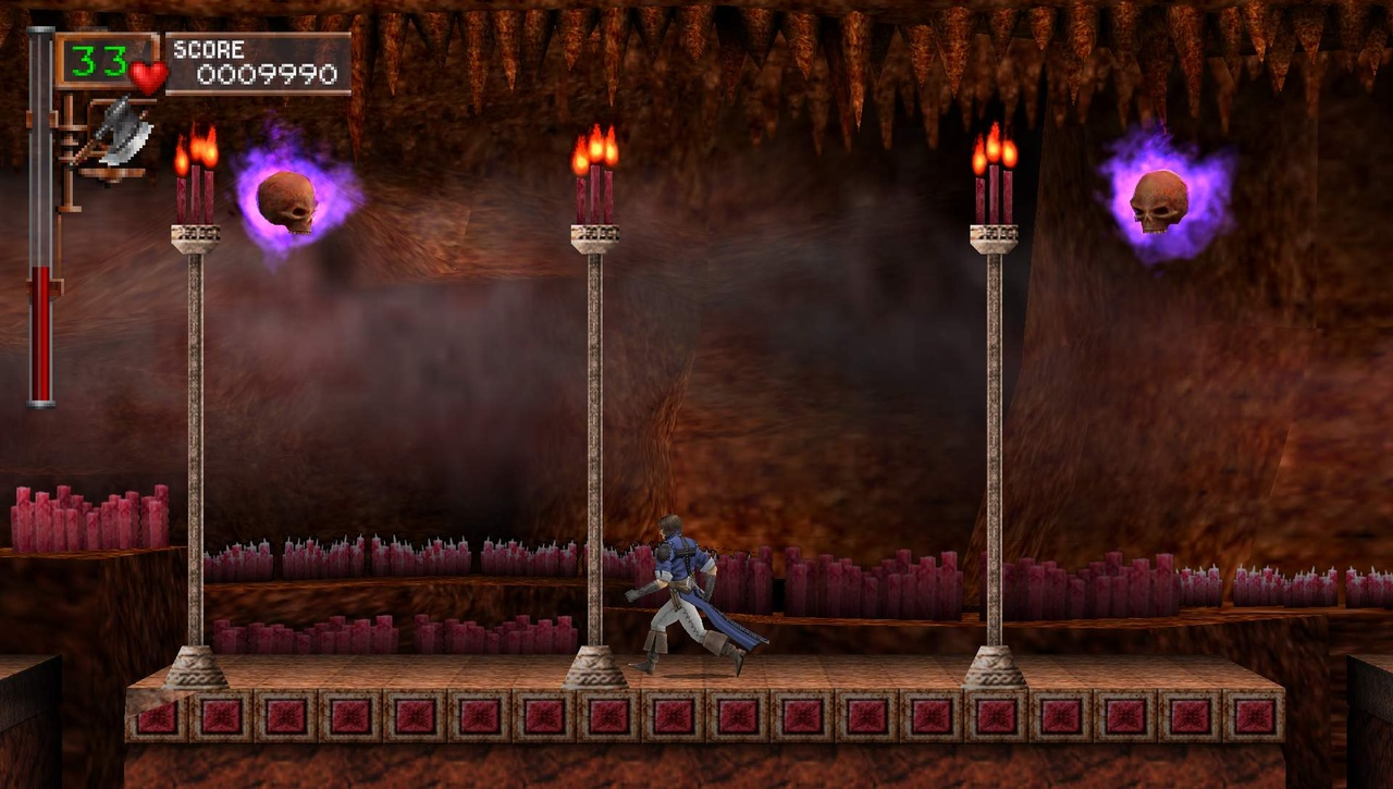 To find new levels and bosses in Rondo of Blood, you have to crack holes in walls and jump into pits that only look bottomless.