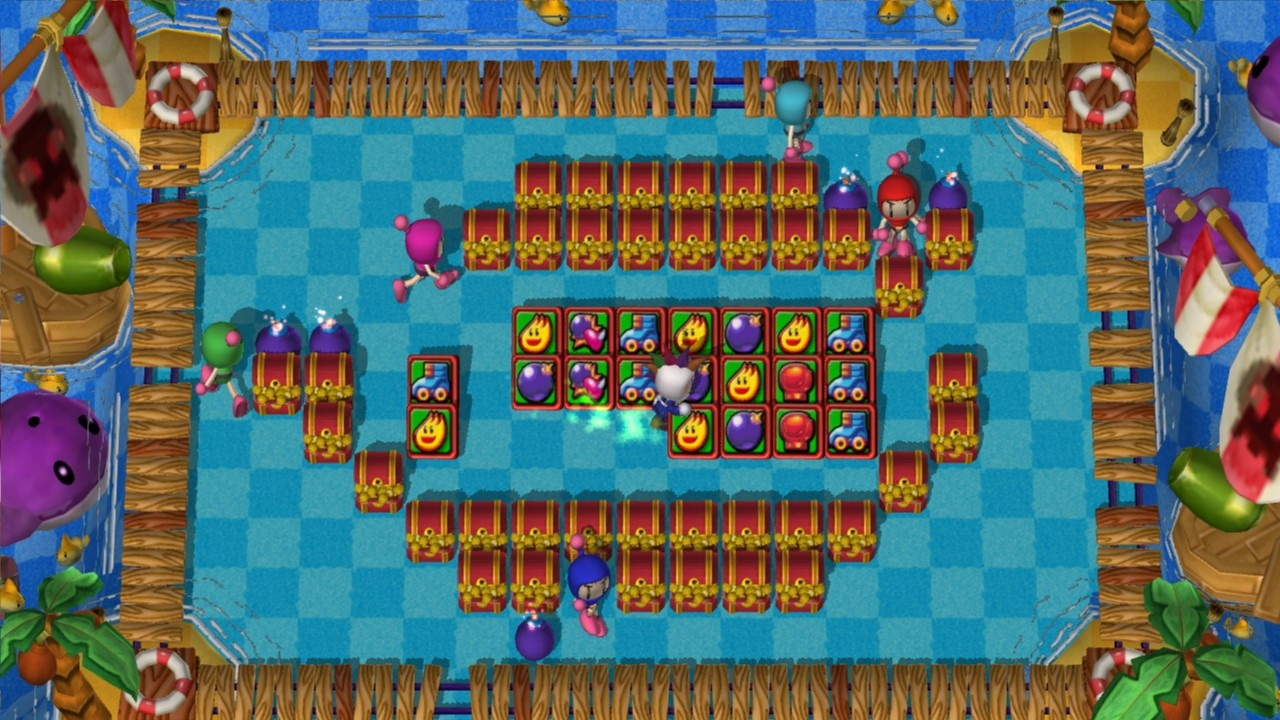 A player grabs all the power-ups at once as his friends watch helplessly.