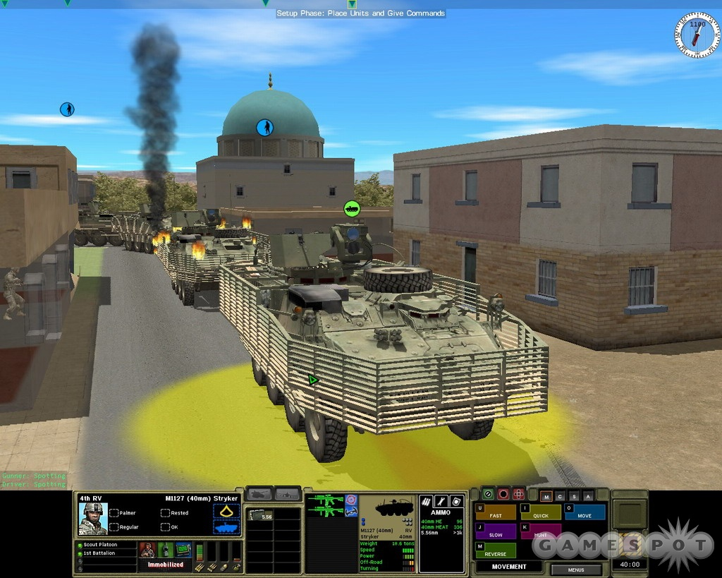 A column of Strykers looks pretty menacing when standing still, but a Keystone Kops routine kicks up as soon as the vehicles start to move.