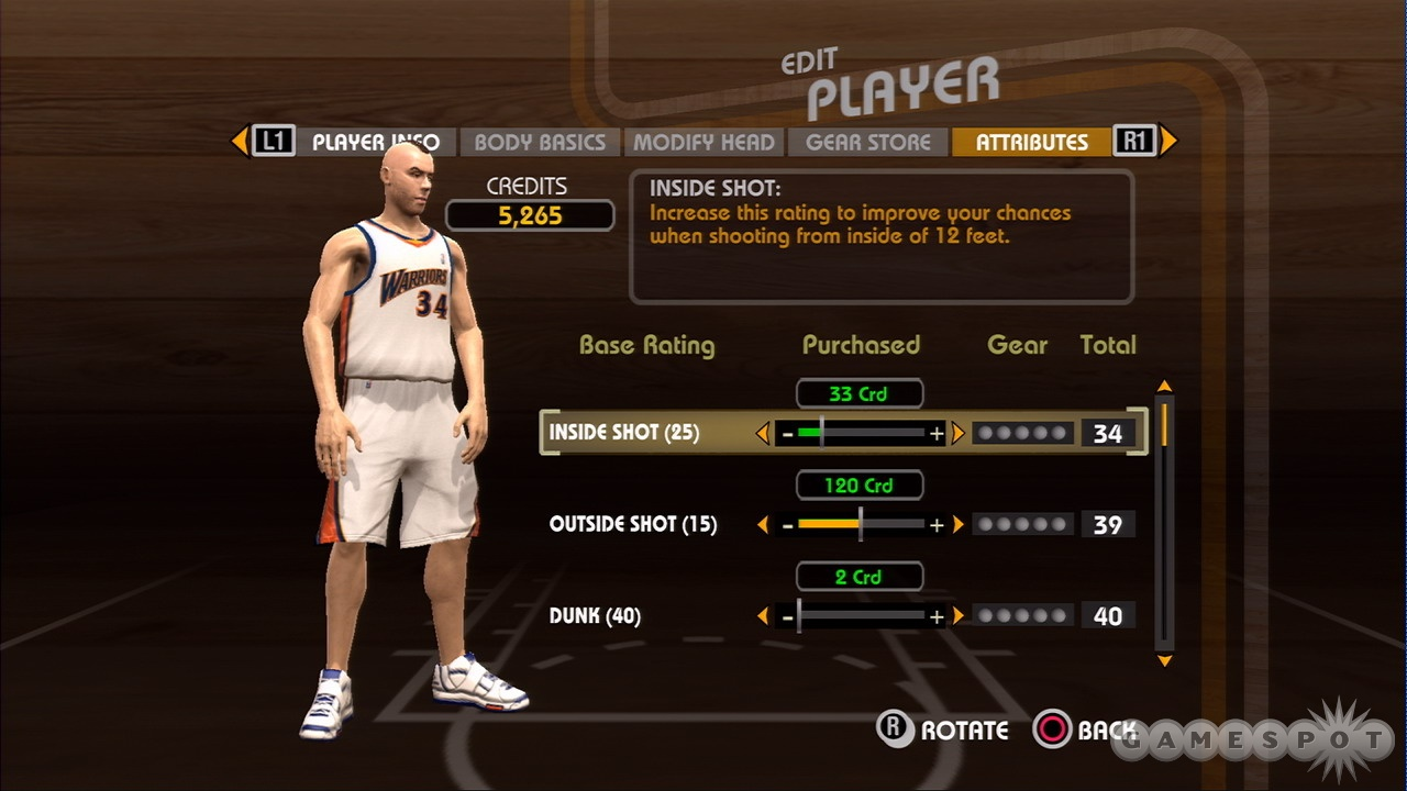 As you progress through the game, you'll be able to improve your created player's abilities.