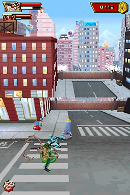 In many stages, rooftops are shown on the upper screen while street level is displayed on the lower screen.