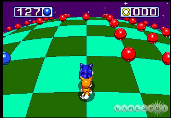 Giant rings lead to 3D stages where you have to collect blue orbs to retrieve one of seven chaos emeralds.