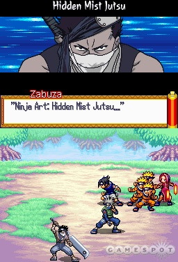 Random, turn-based battles let you trade jutsu attacks with monsters and other ninjas.